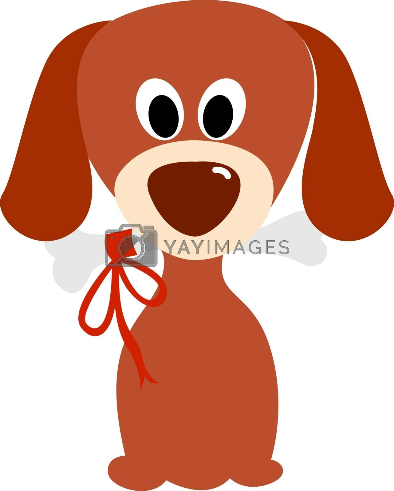 Dog with bone, illustration, vector on white background.