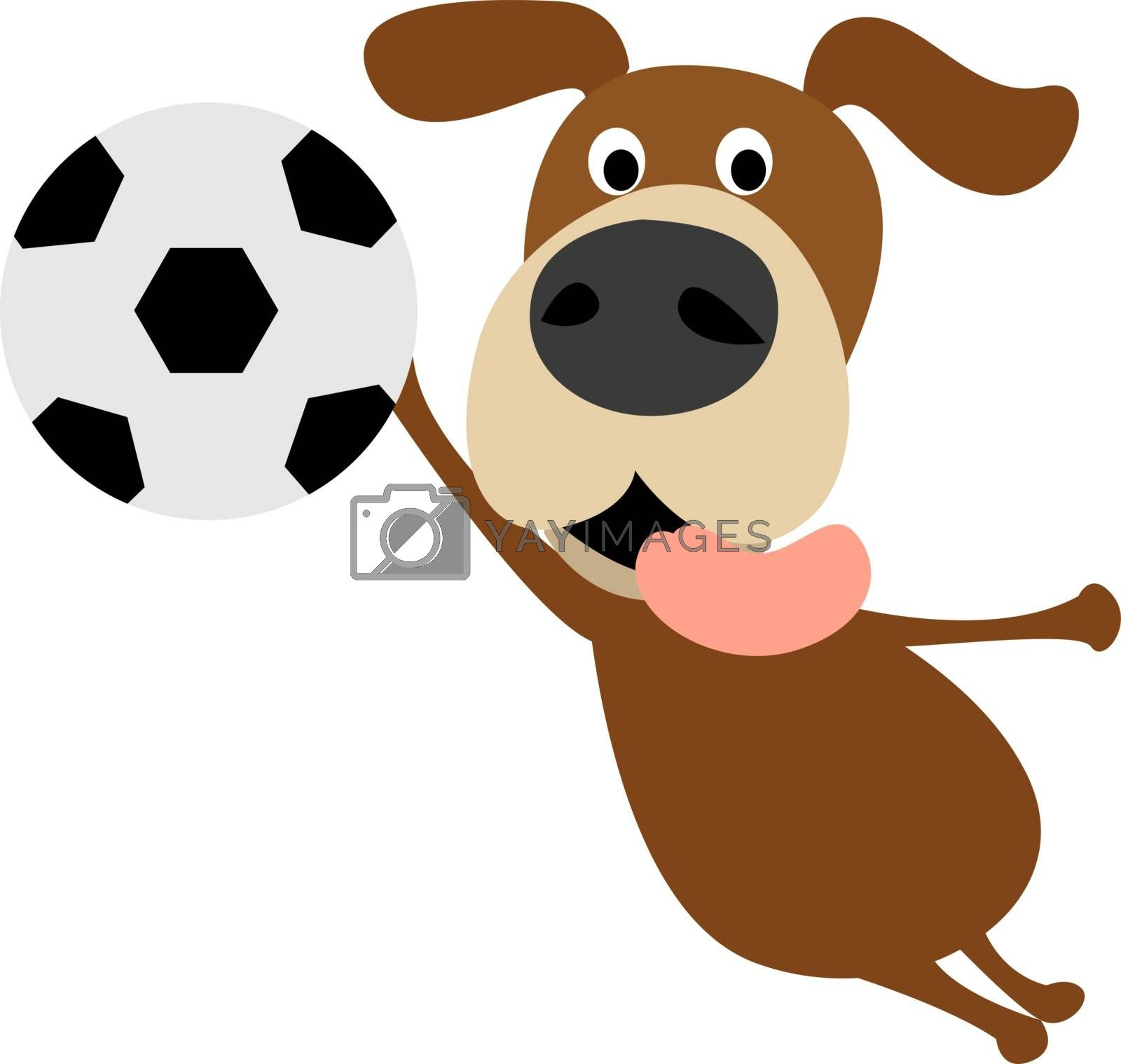 Dog goalkeeper, illustration, vector on white background.