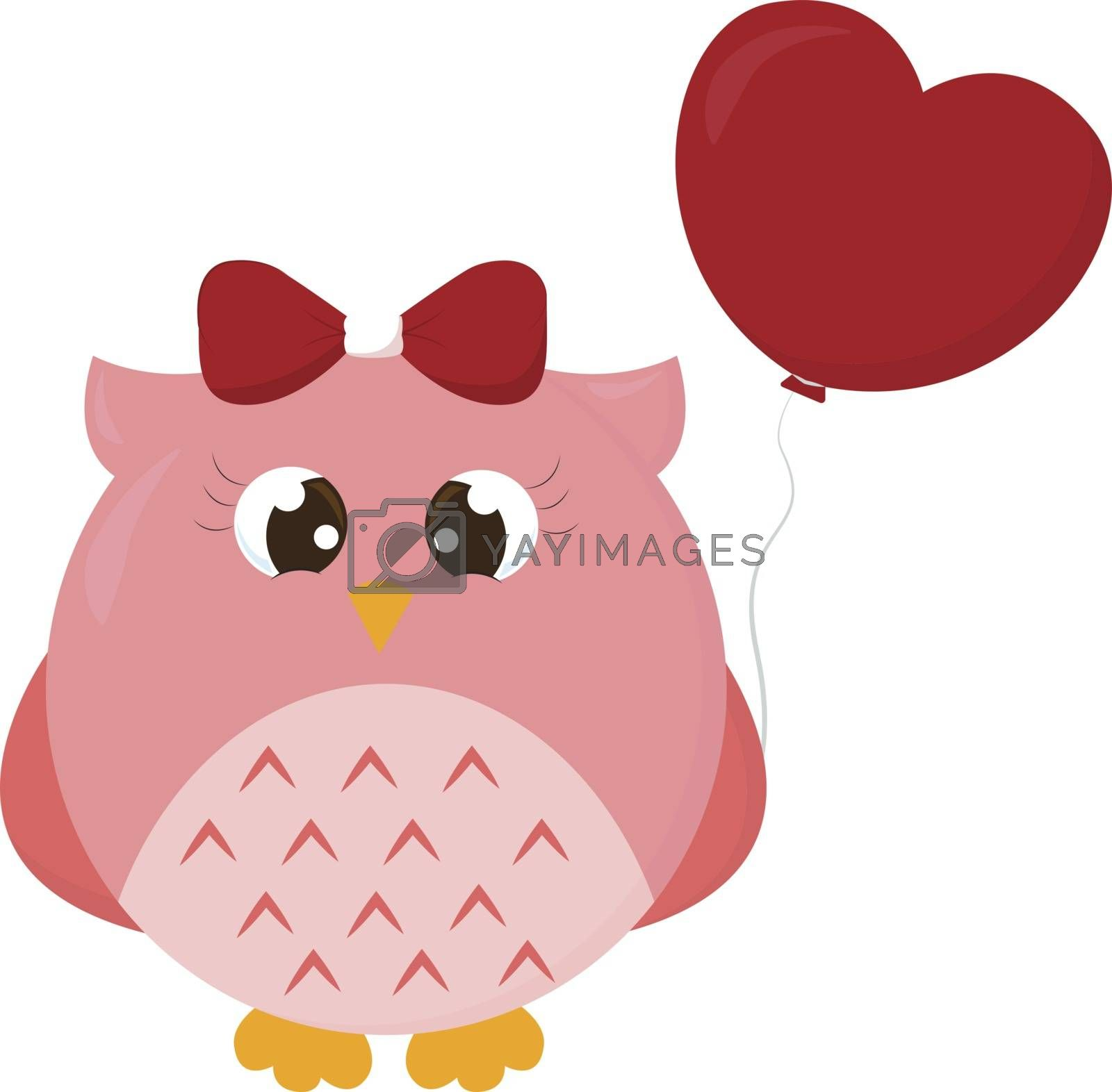 Owl in love, illustration, vector on white background.