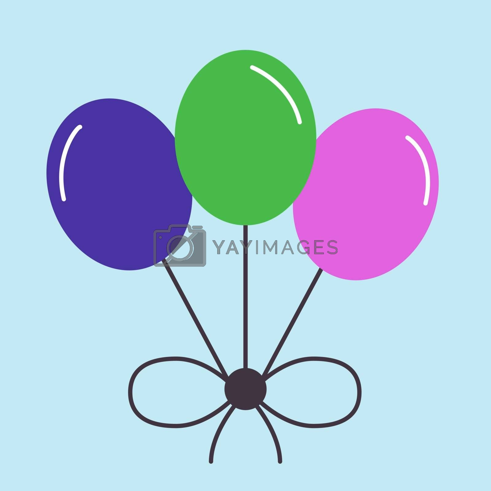 Balloons, illustration, vector on white background.