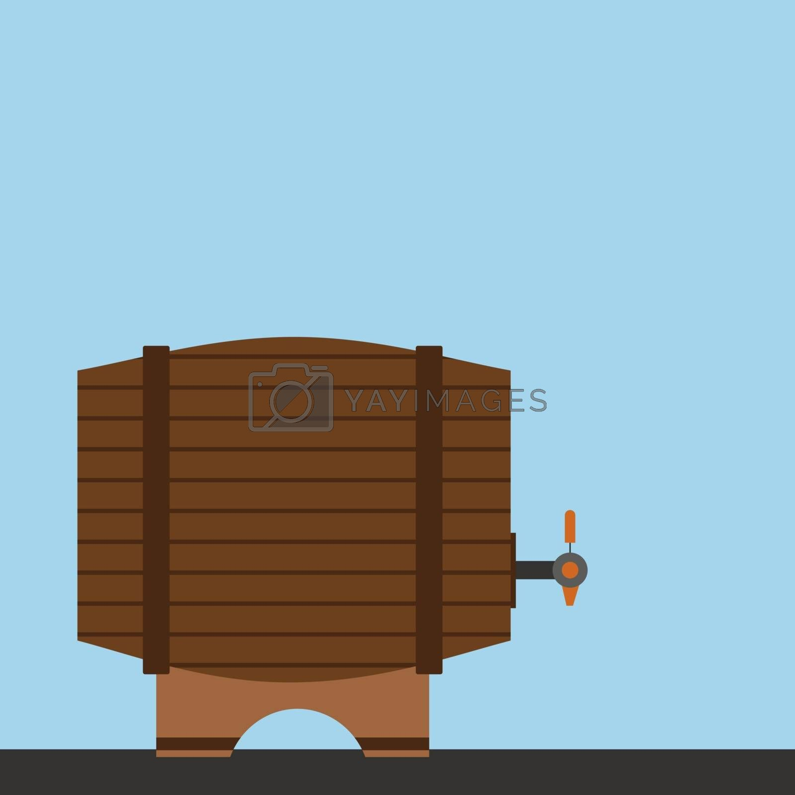 Wooden barrel, illustration, vector on white background.