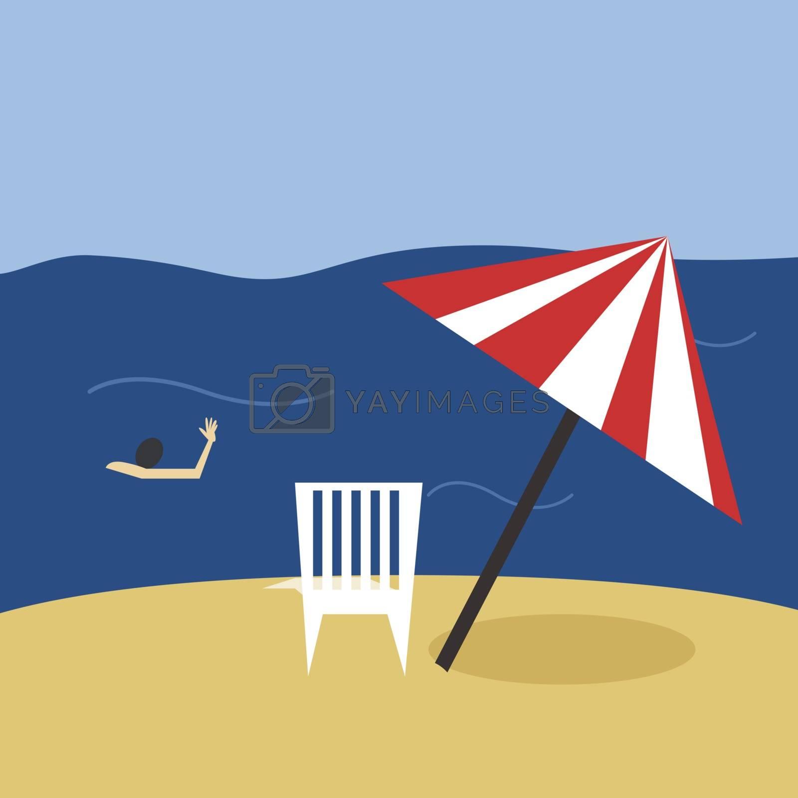 Beach, illustration, vector on white background.