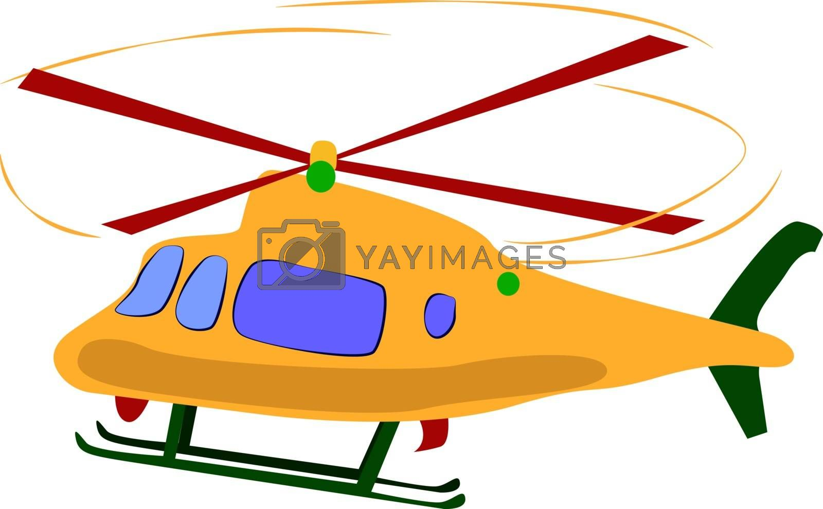 Yellow helicopter, illustration, vector on white background.