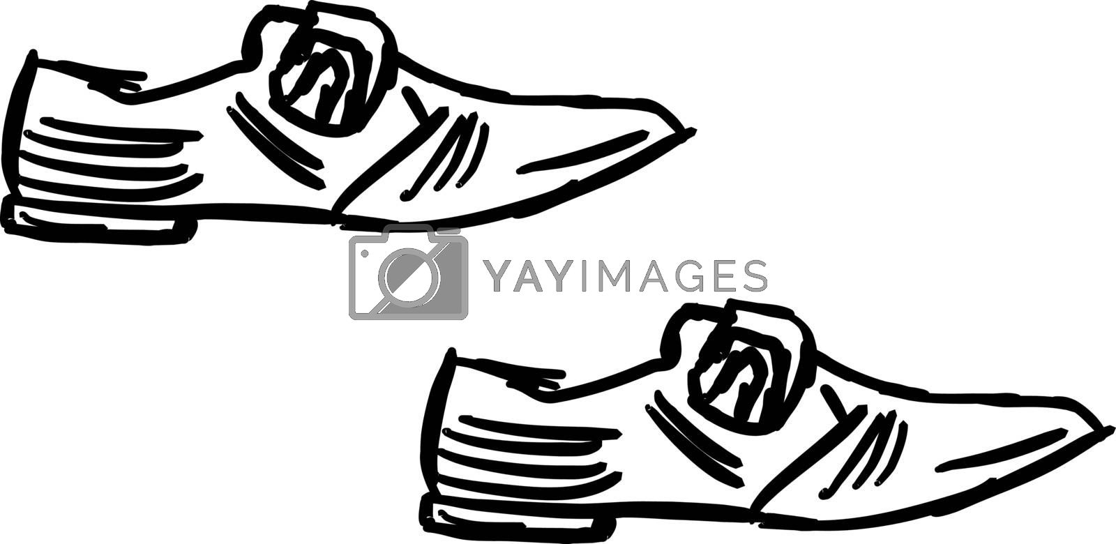 Mans shoes drawing, illustration, vector on white background.