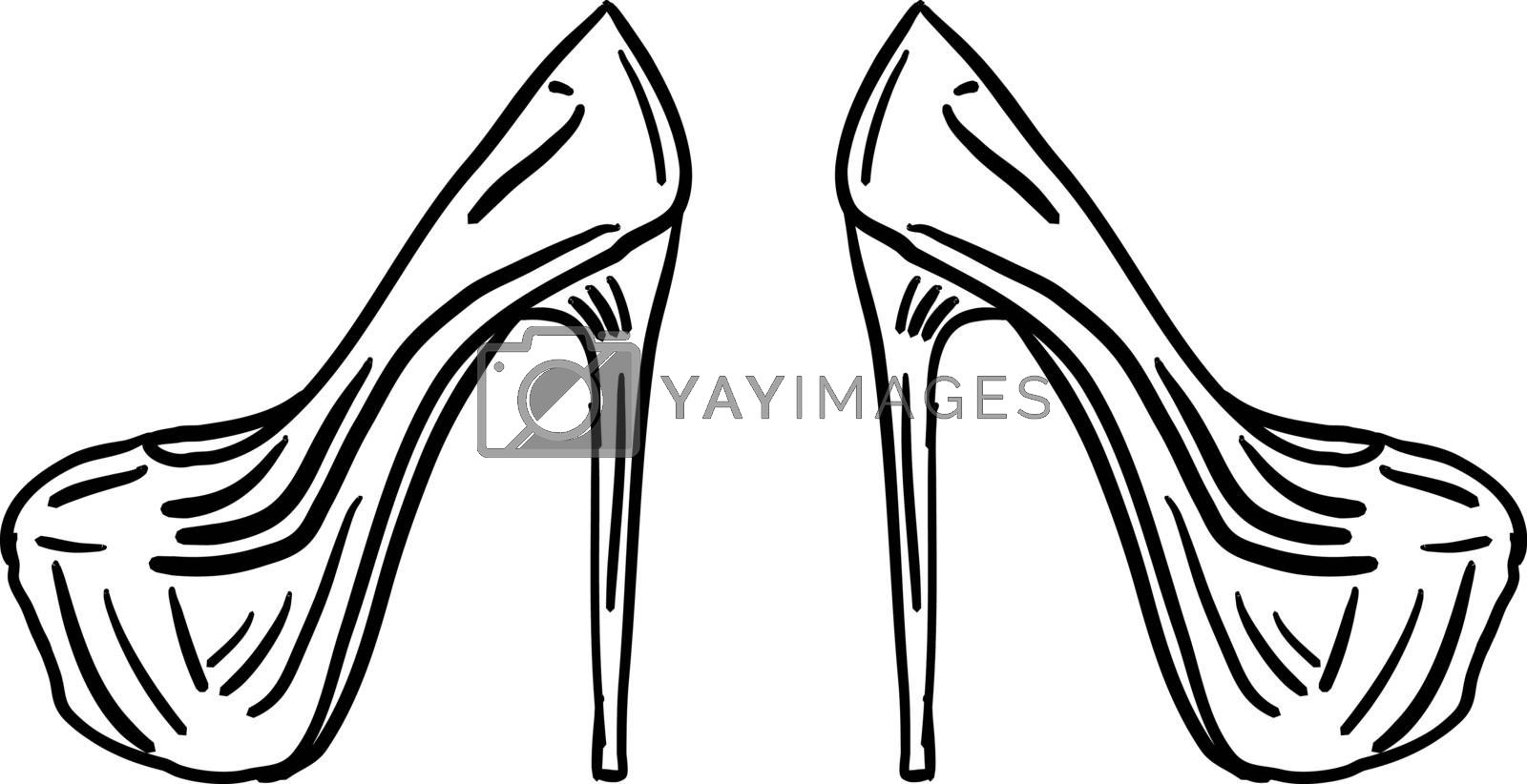 Womans shoes, illustration, vector on white background.