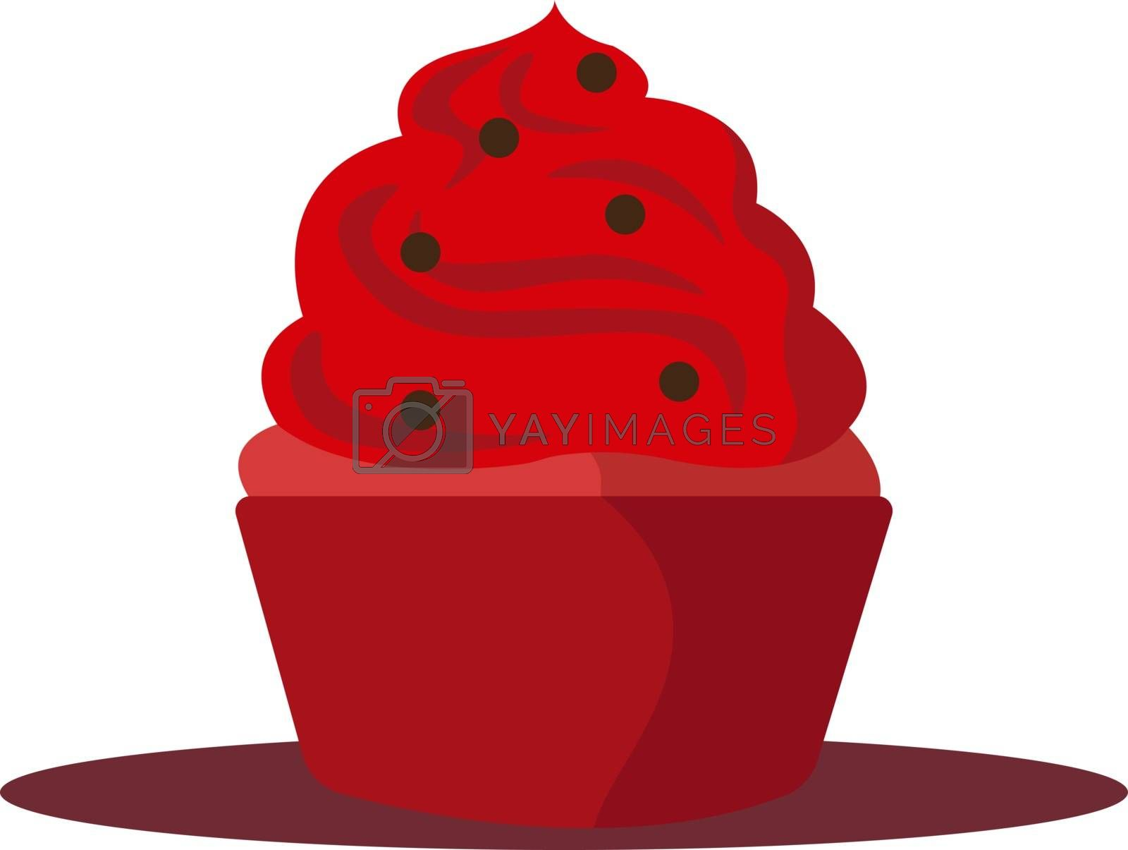Red cupcake, illustration, vector on white background.
