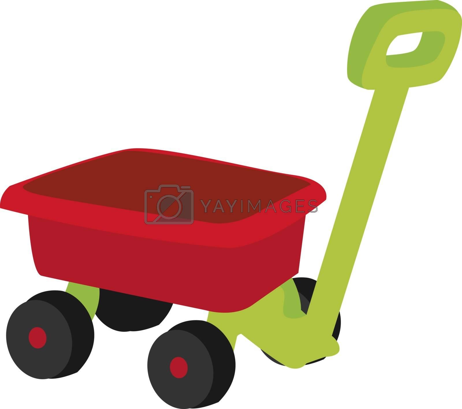 Kinder handwagen, illustration, vector on white background.