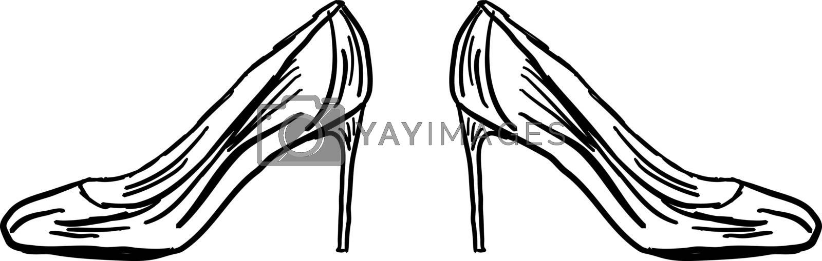 Drawing of womans heels, illustration, vector on white background.