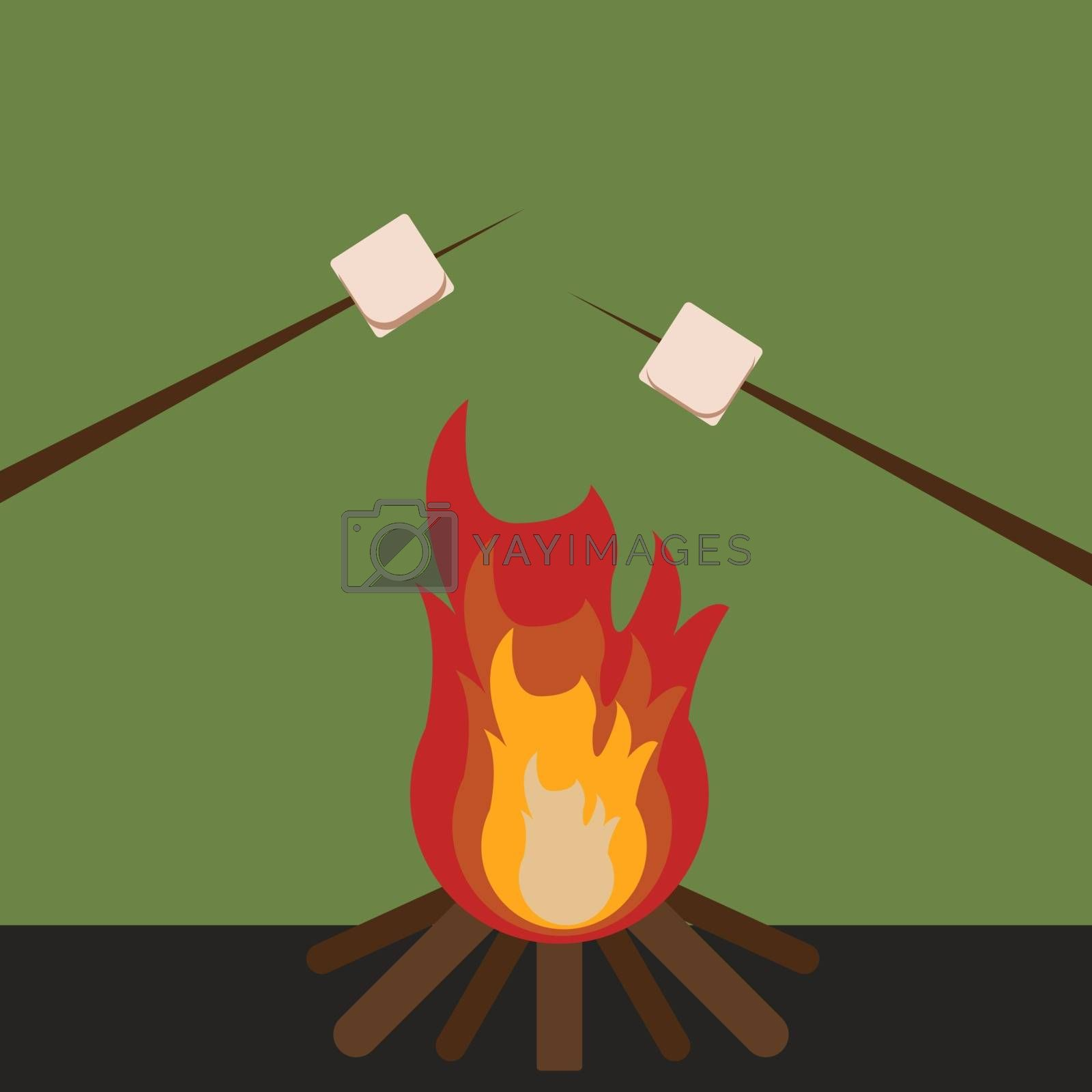 Fire in woods, illustration, vector on white background.