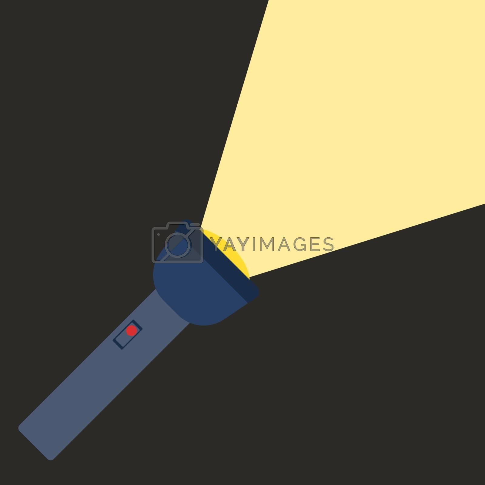 Flashlight, illustration, vector on white background.