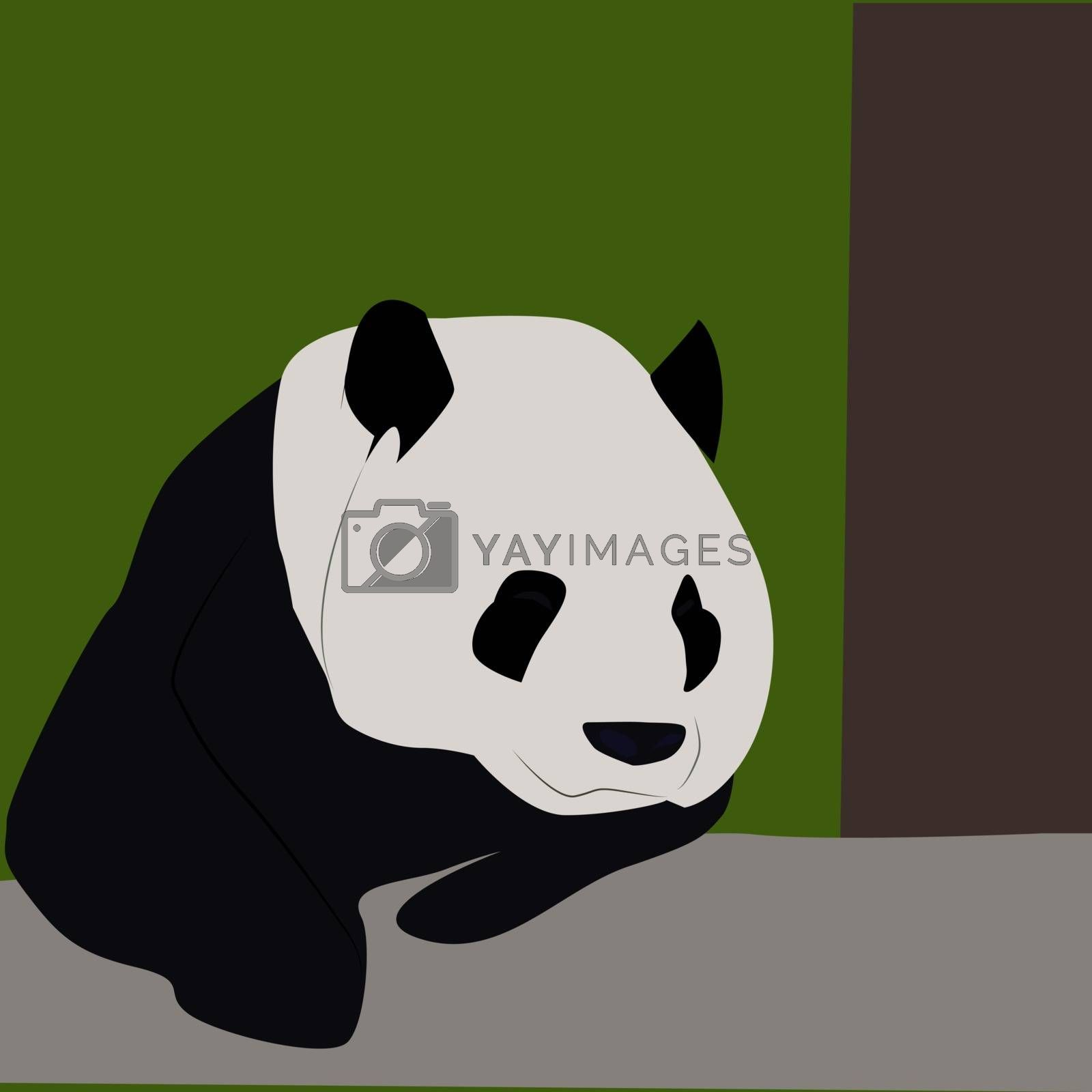Panda in the woods, illustration, vector on white background.