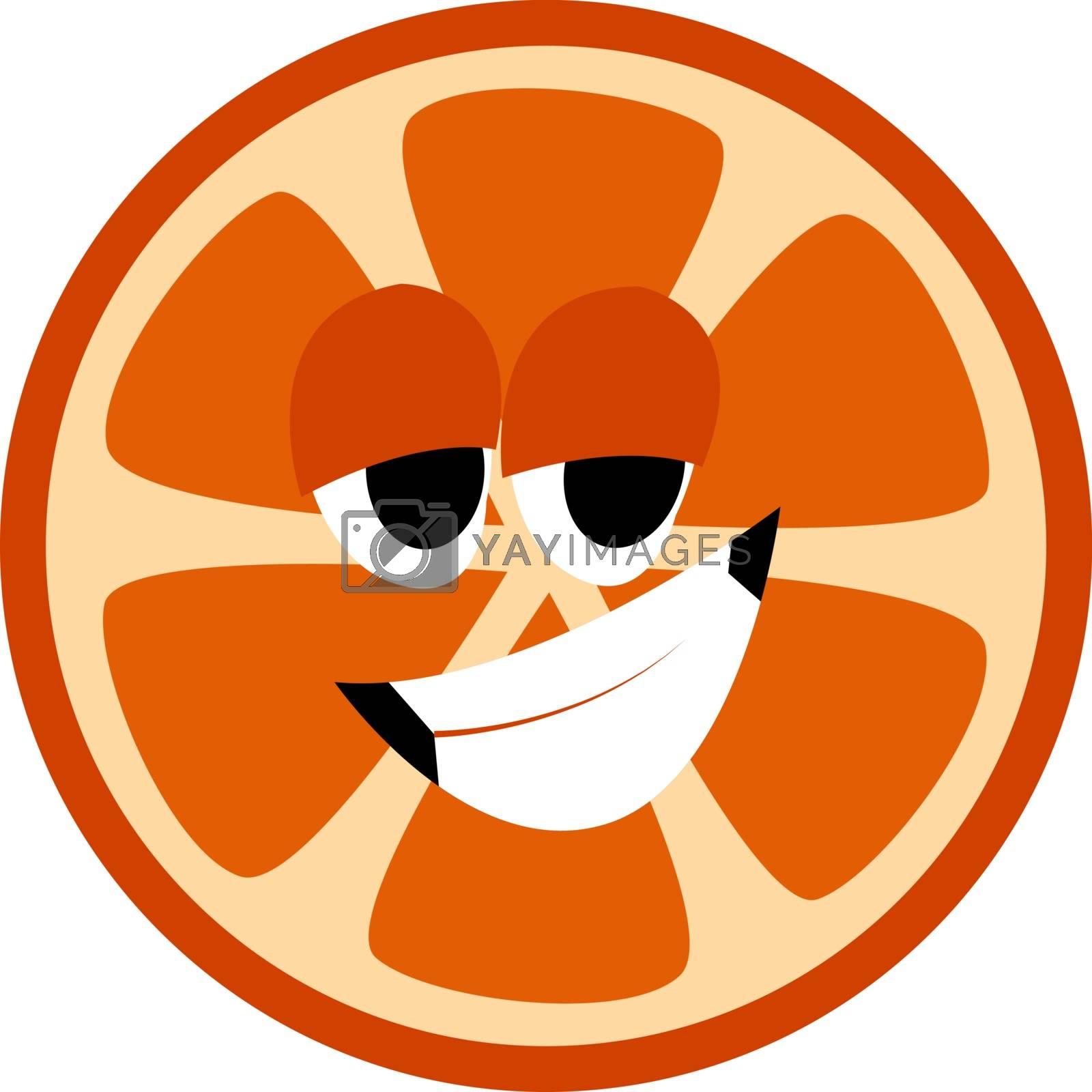 Smiling orange, illustration, vector on white background.