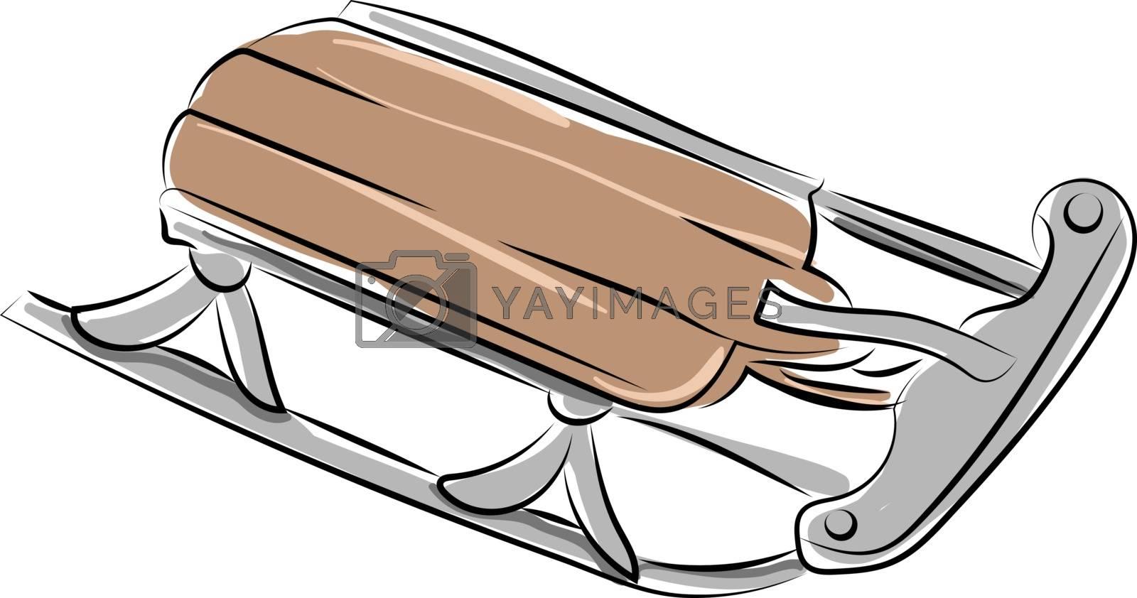 Snow sled, illustration, vector on white background.