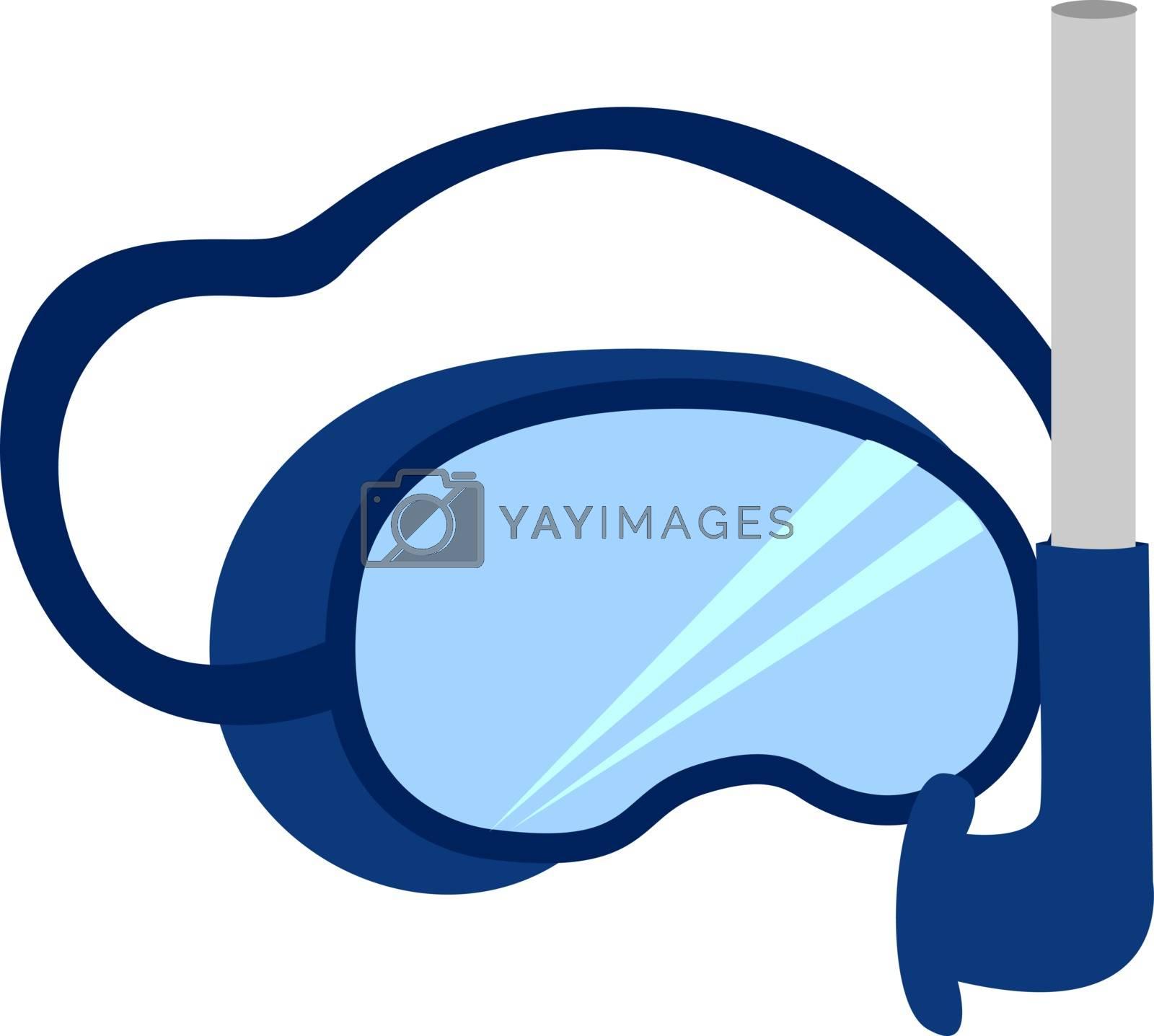 Snorkeling mask, illustration, vector on white background.