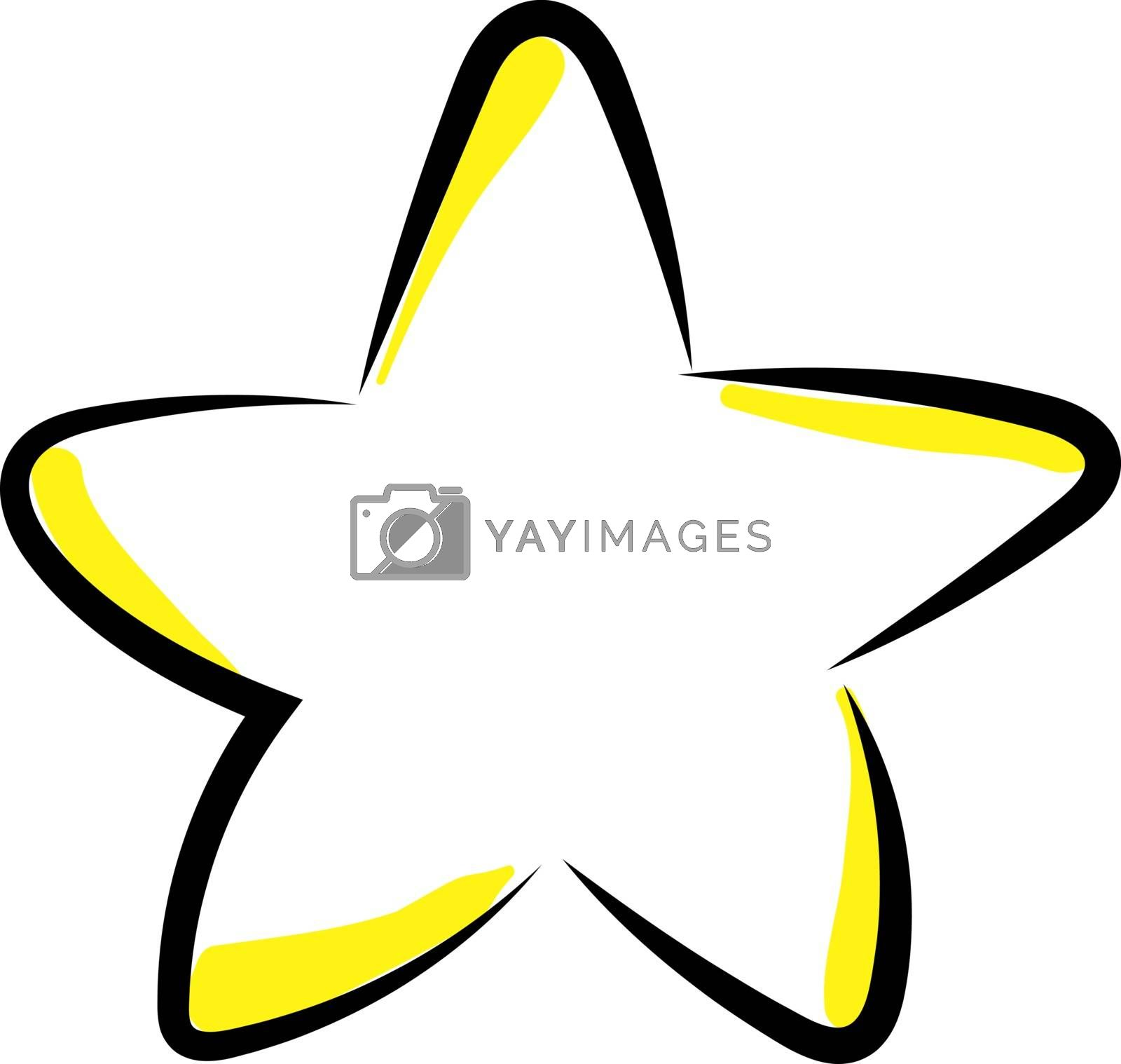 Yellow star, illustration, vector on white background.