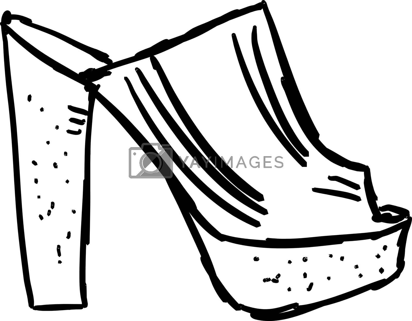 Girls shoes, illustration, vector on white background.