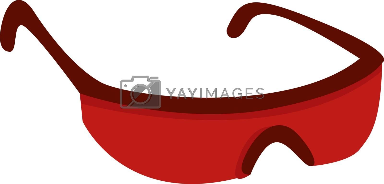 Red sunglasses, illustration, vector on white background.