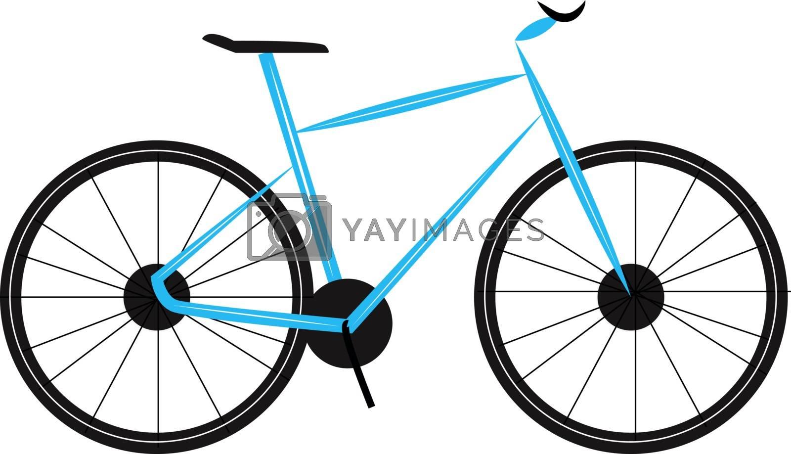 Blue bike, illustration, vector on white background.