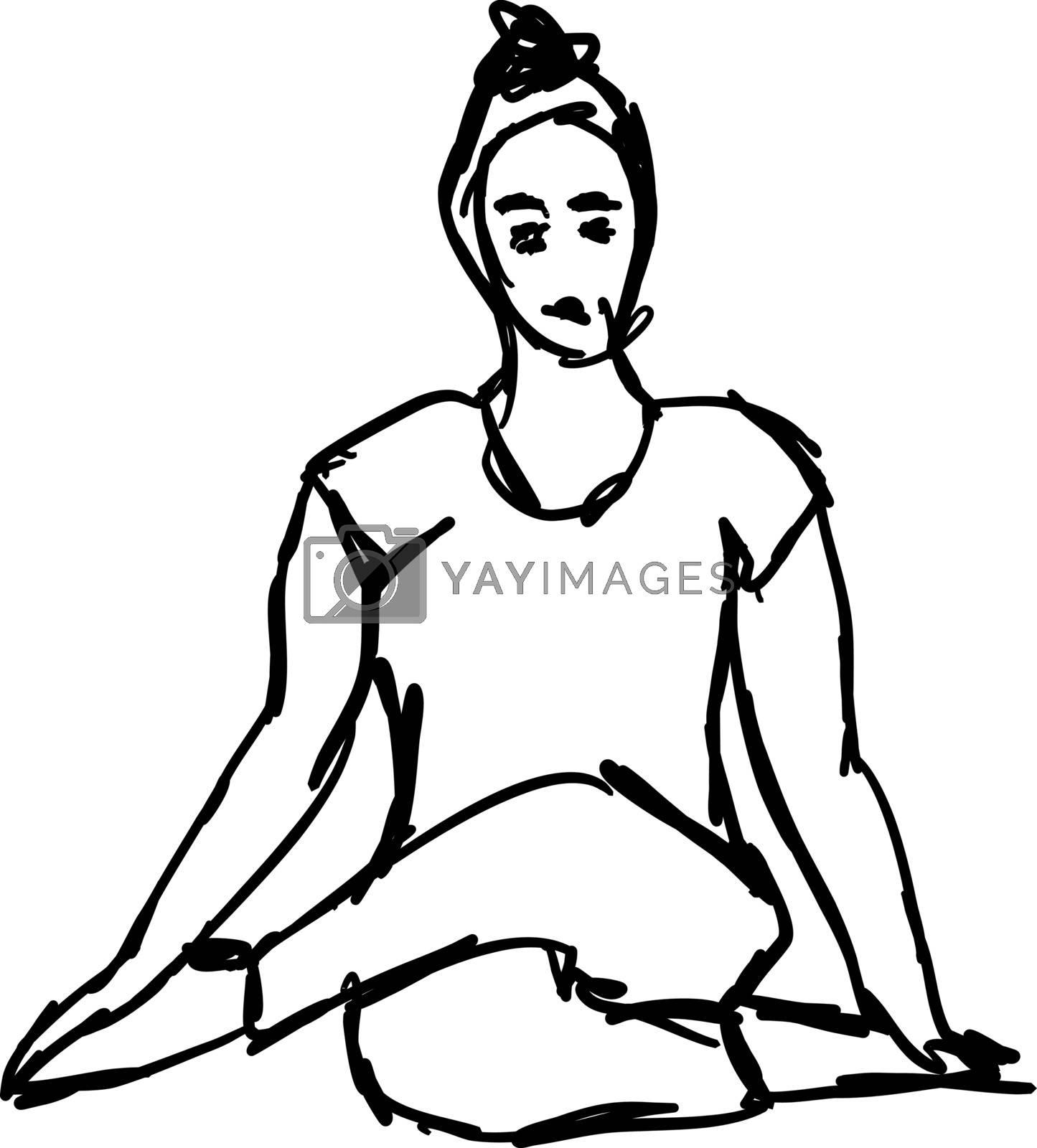 Yoga pose, illustration, vector on white background.