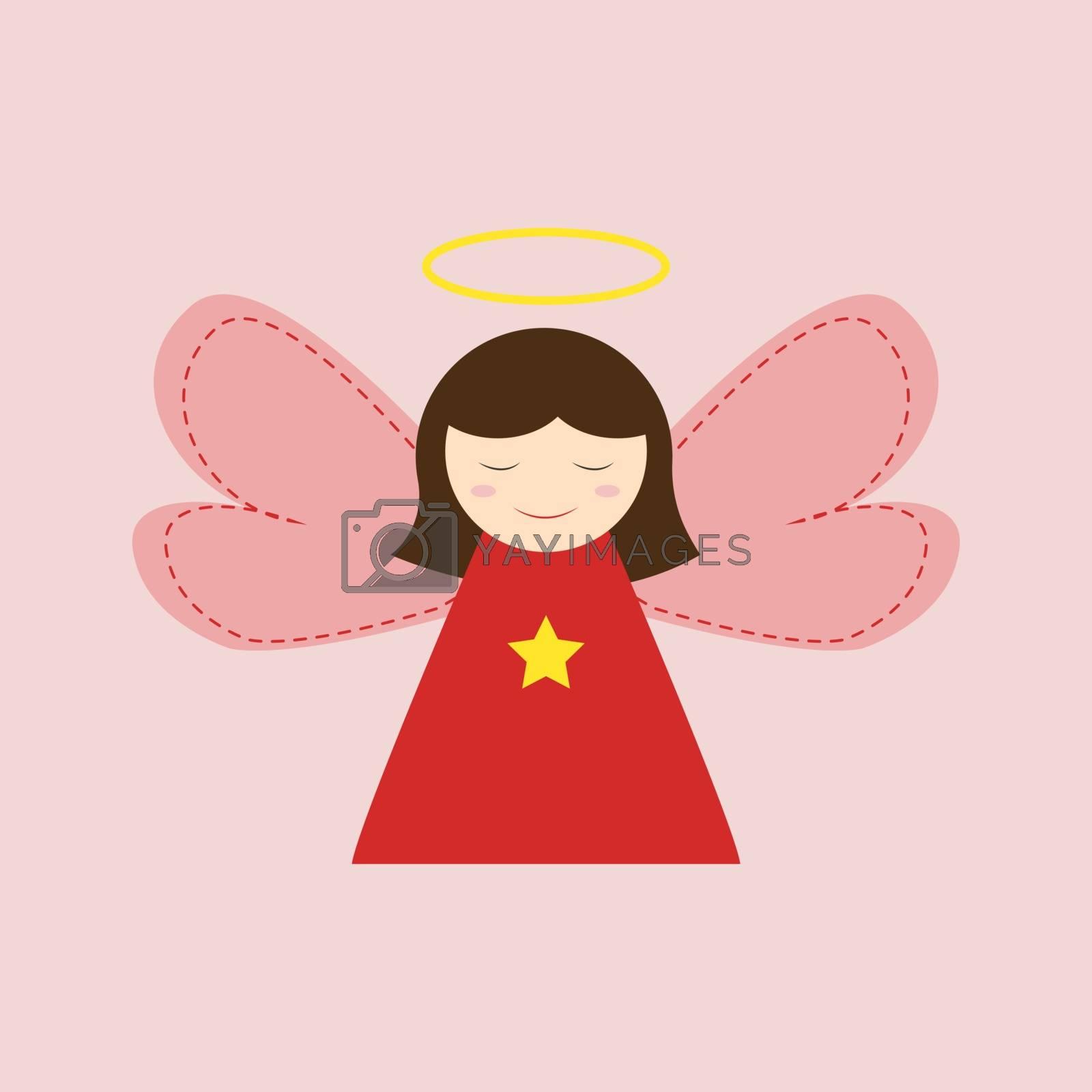 Angel girl, illustration, vector on white background.