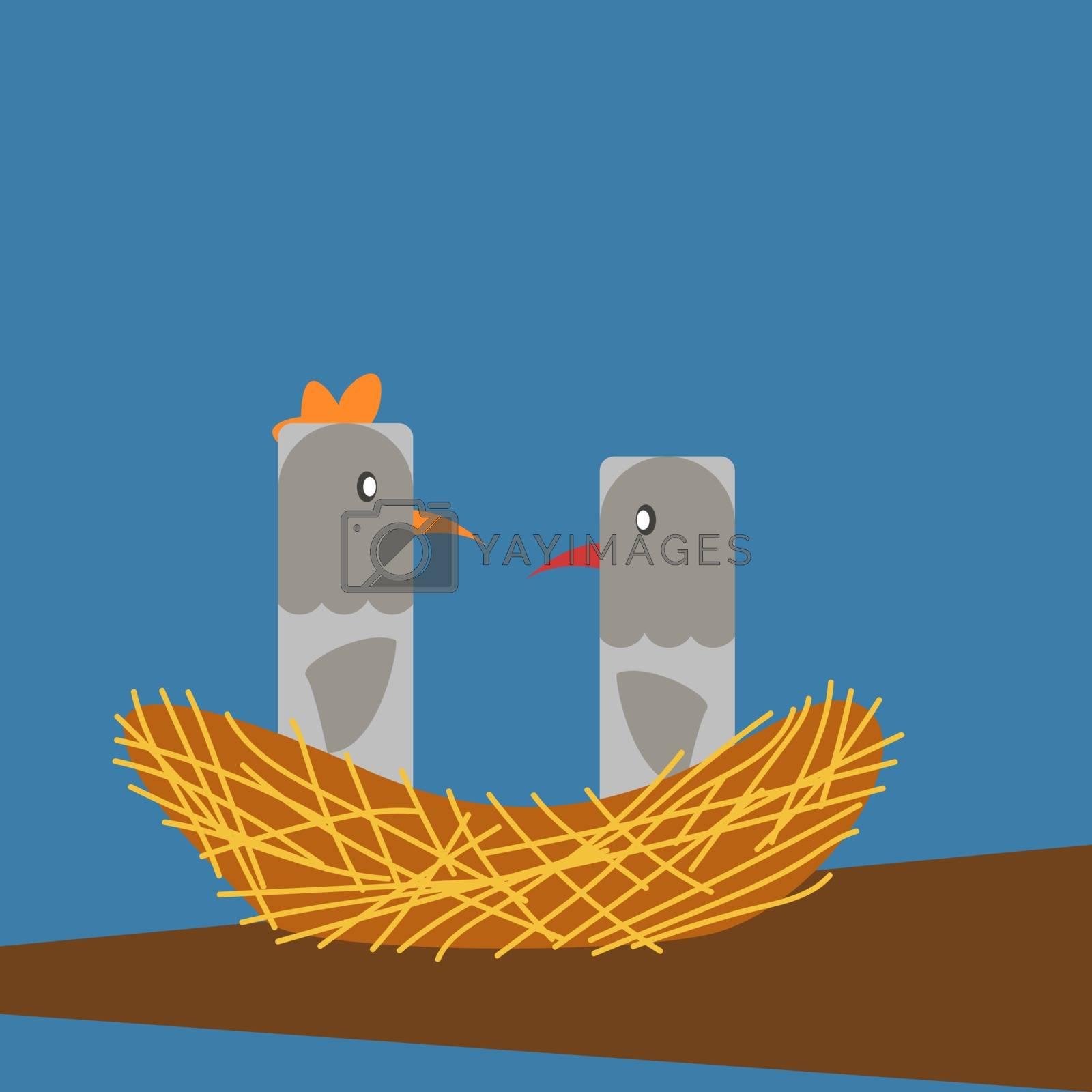 Birds in nest, illustration, vector on white background.