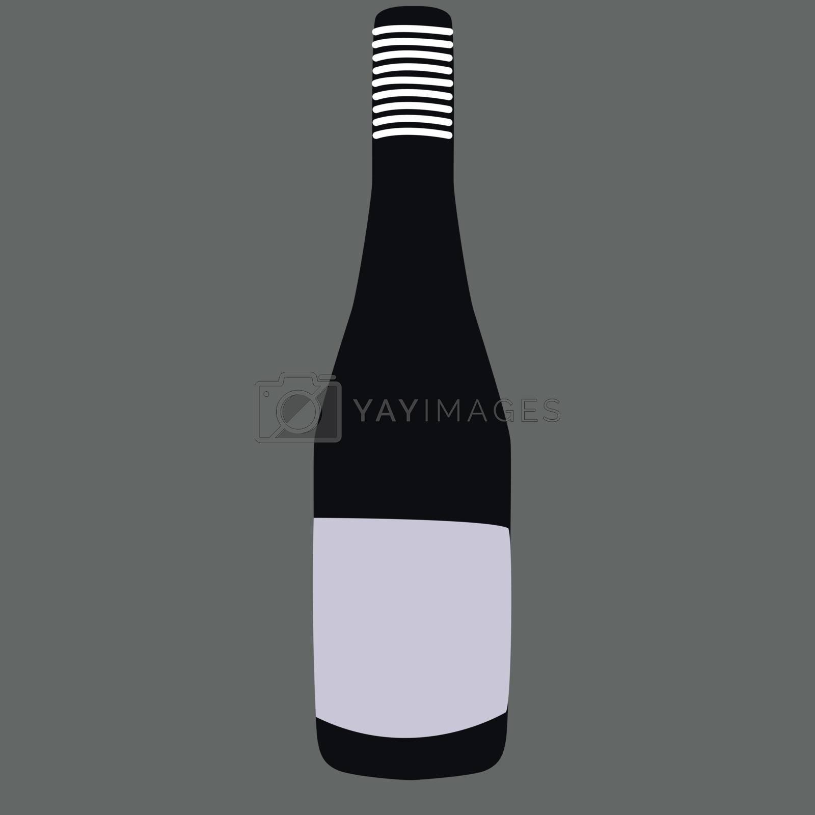 Black bottle, illustration, vector on white background.