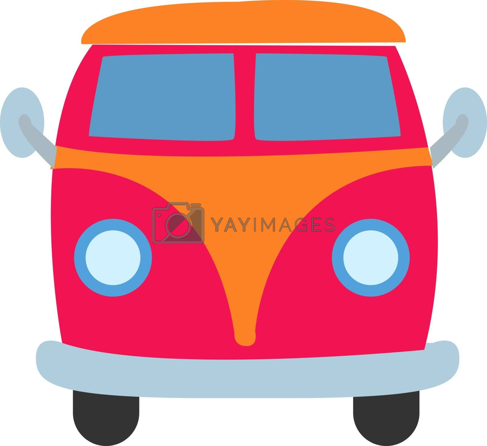 Mini van, illustration, vector on white background.