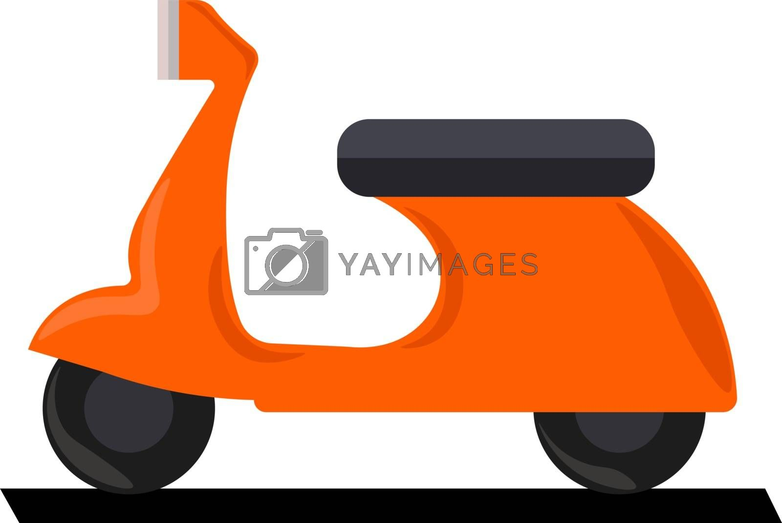 Orange scooter, illustration, vector on white background.