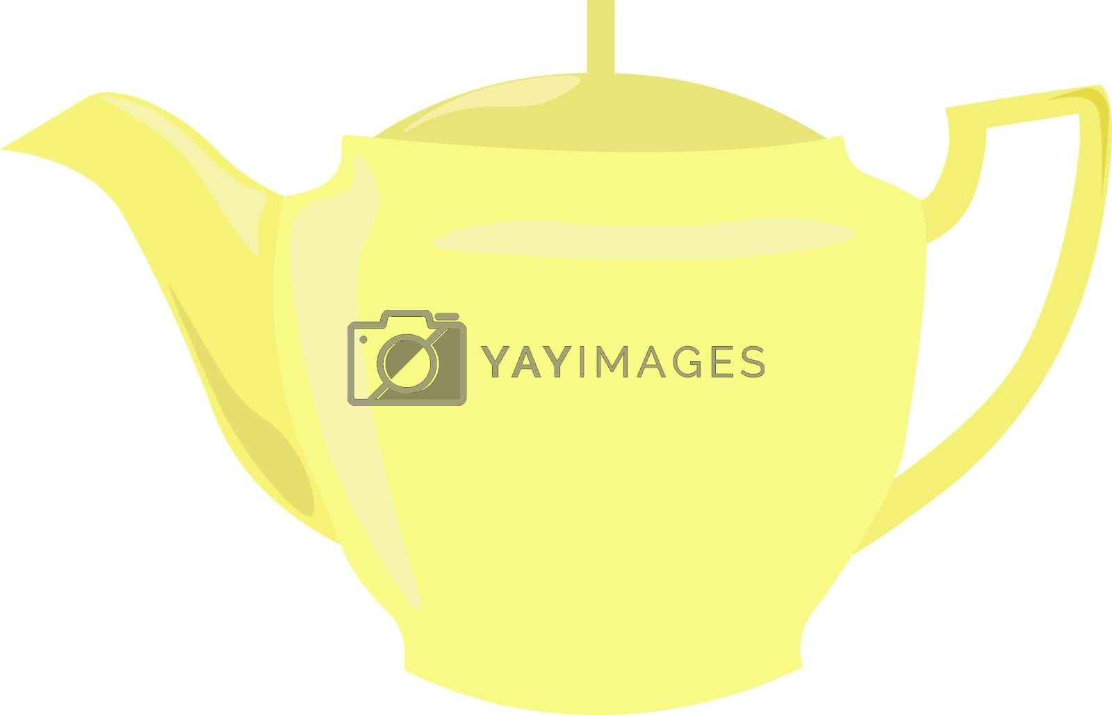 Yellow kettle, illustration, vector on white background.