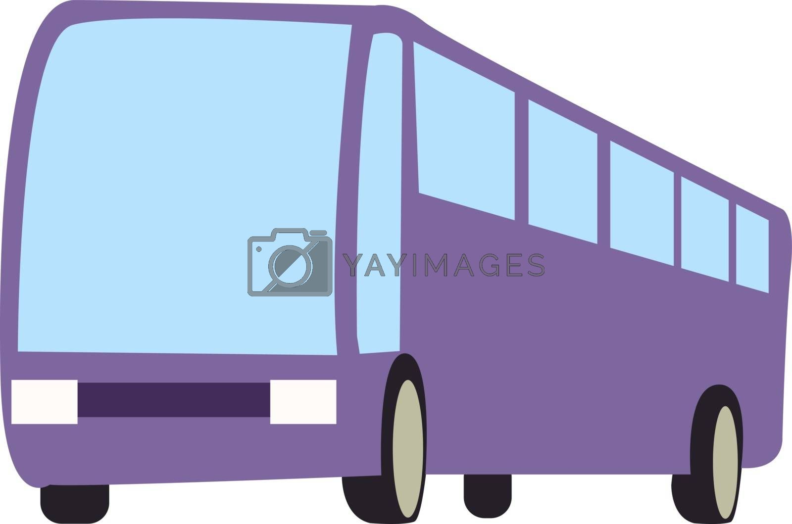 Purple bus, illustration, vector on white background.