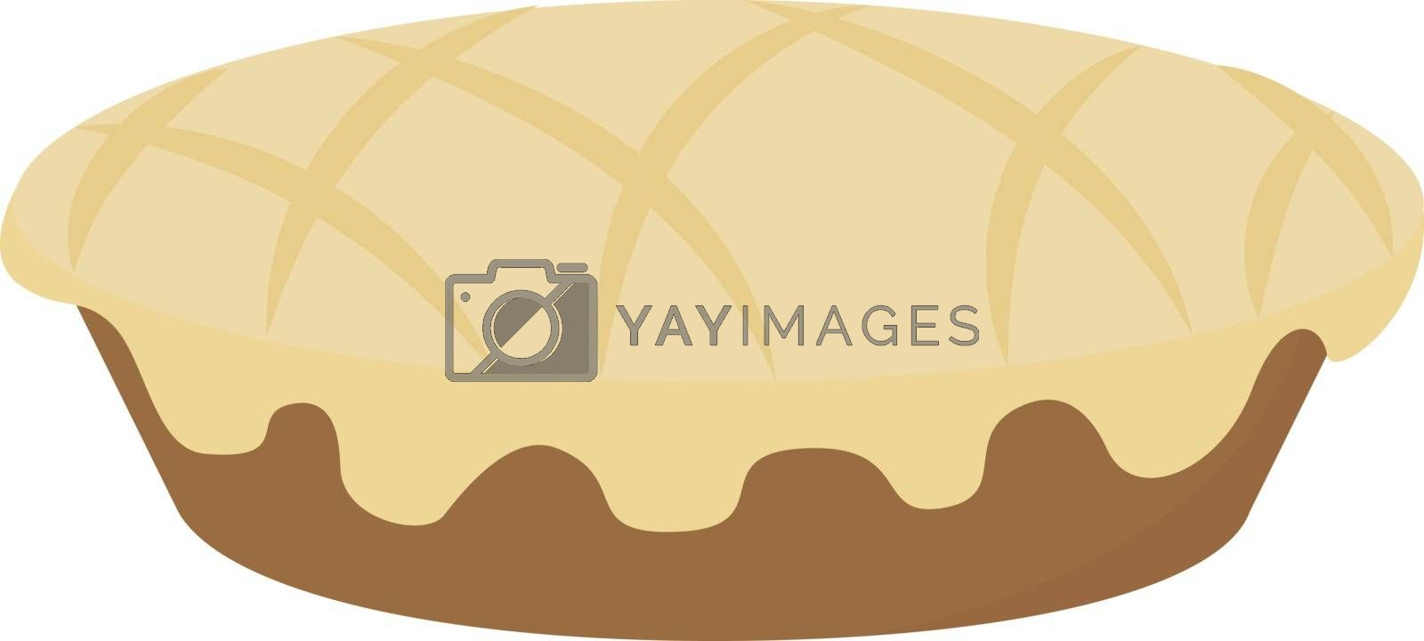 Apple pie, illustration, vector on white background.