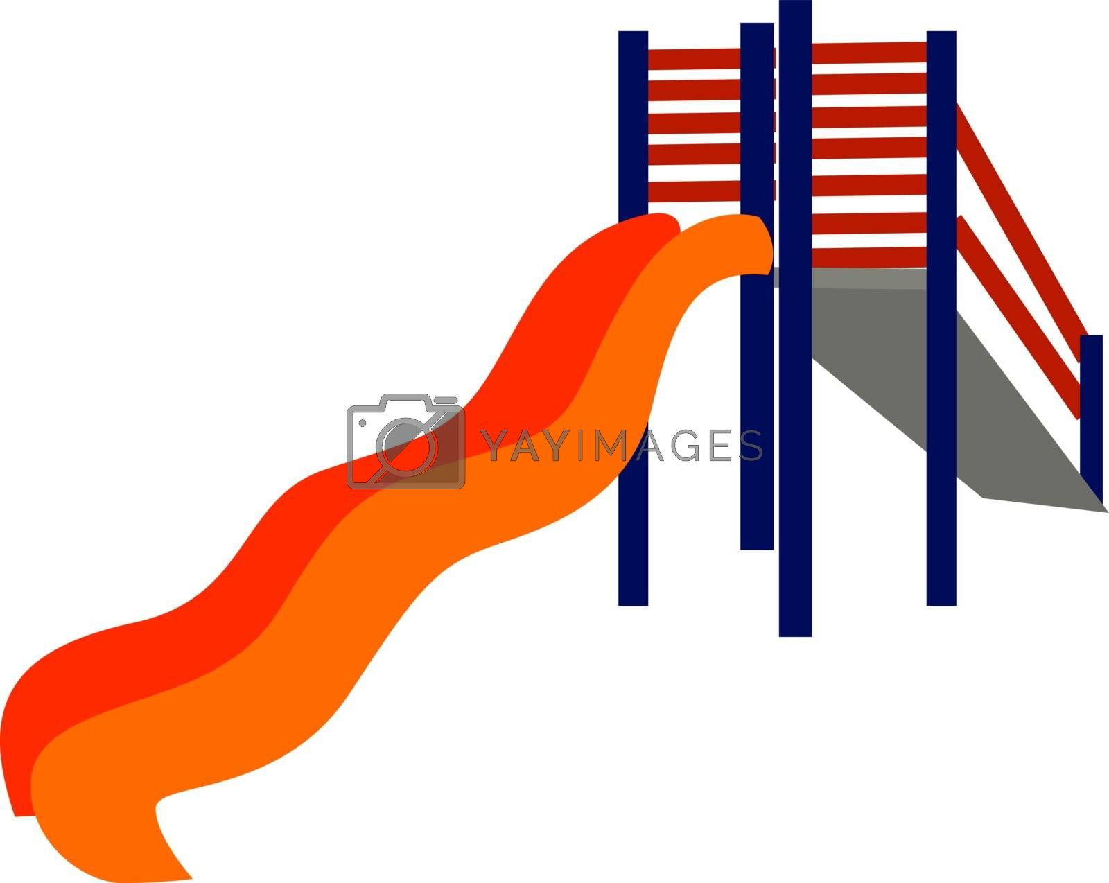 Kids slide, illustration, vector on white background.