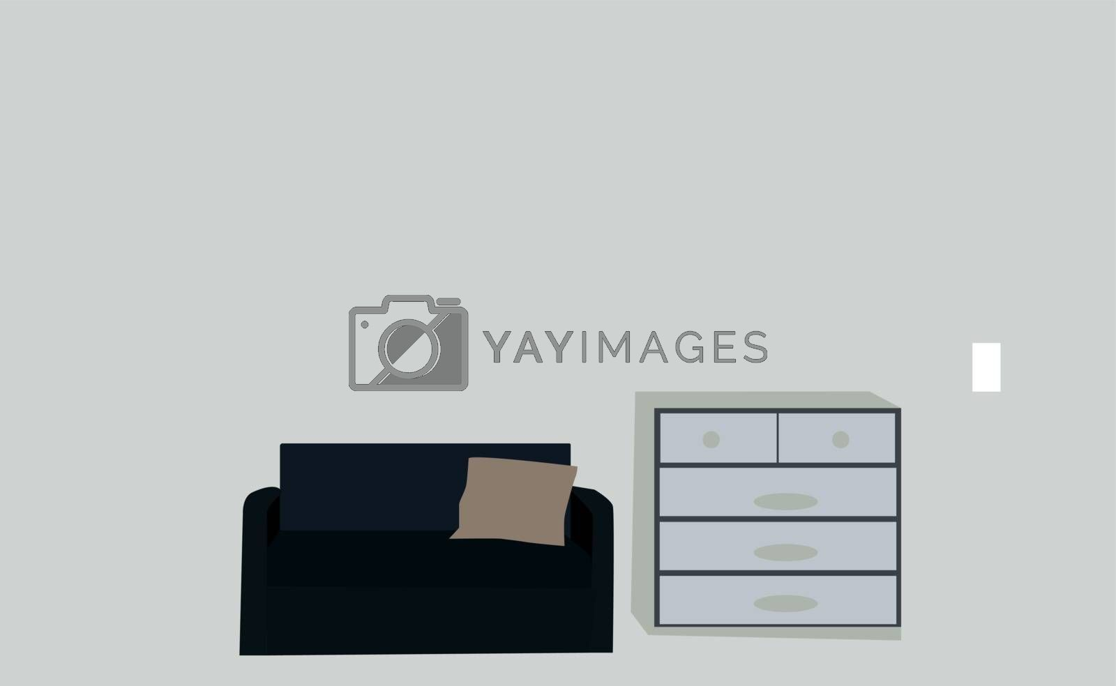 Sofa and a wardrobe, illustration, vector on white background.