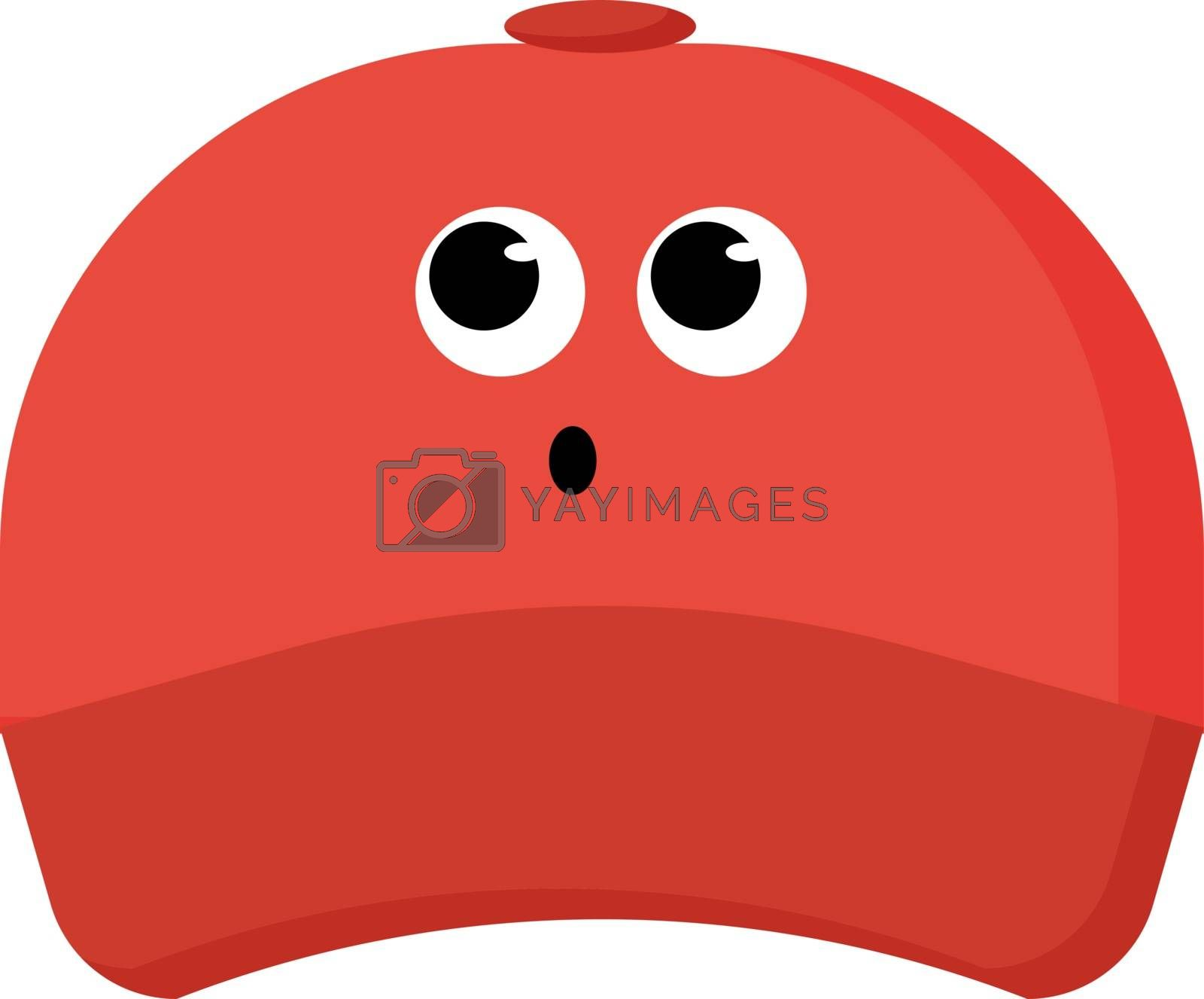 Red cap, illustration, vector on white background.