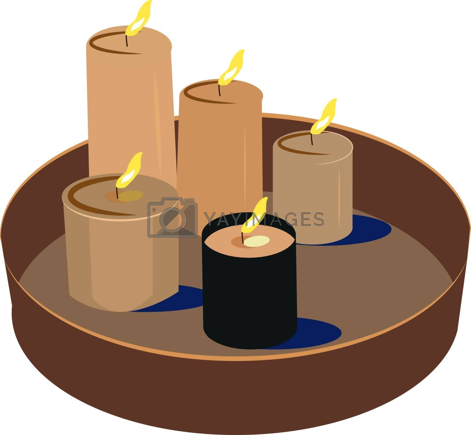 Candles, illustration, vector on white background.