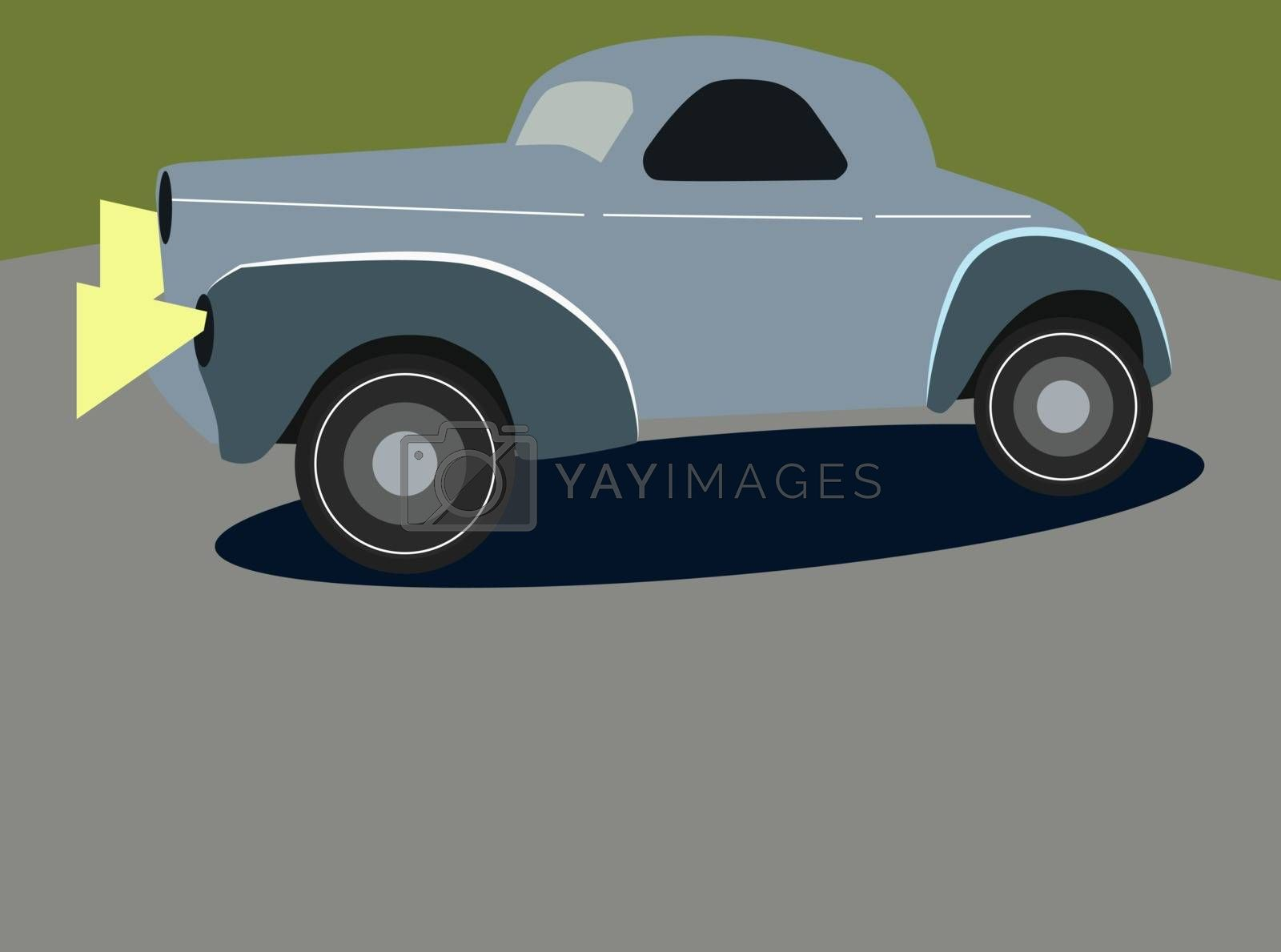 Retro car, illustration, vector on white background.