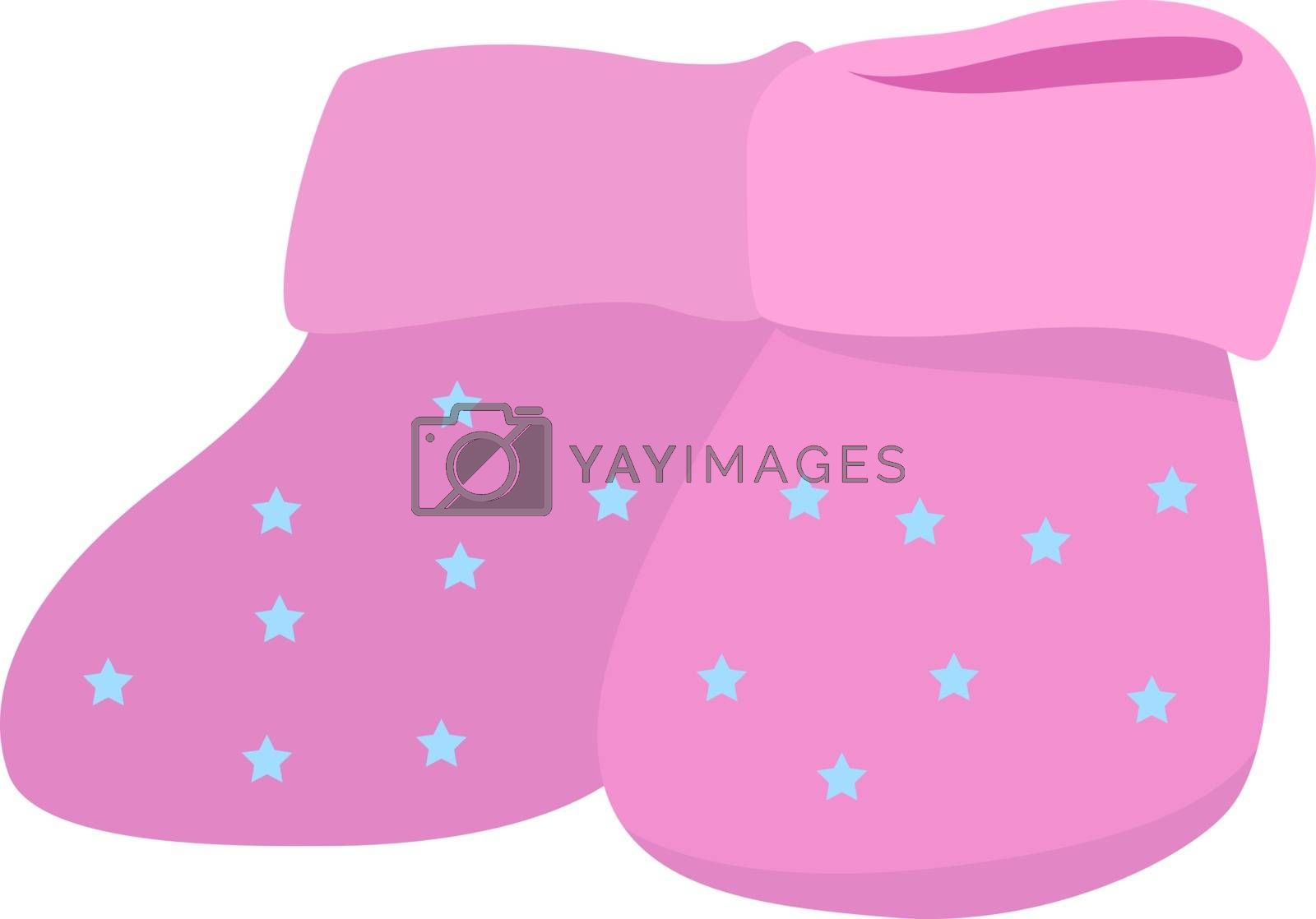 Kids shoes, illustration, vector on white background.