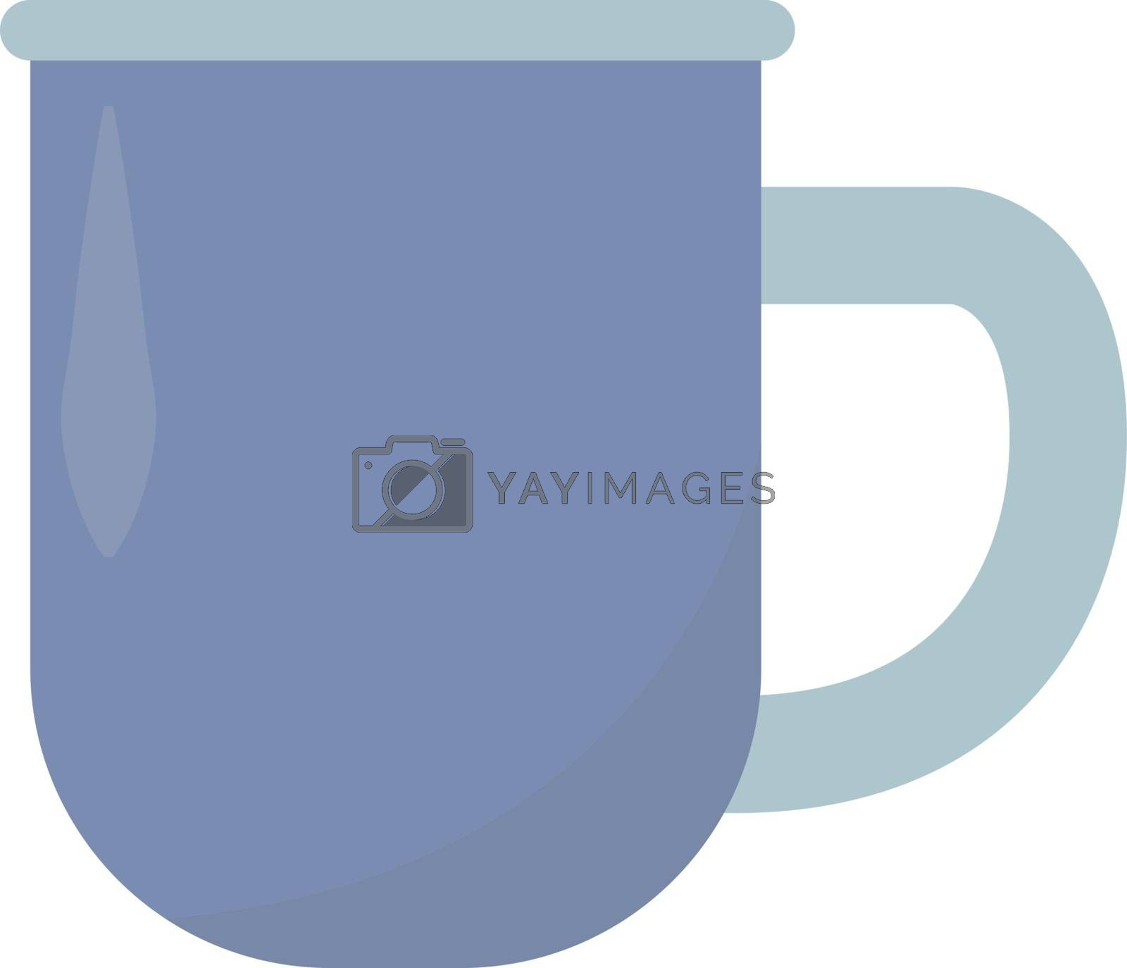 Blue cup, illustration, vector on white background.