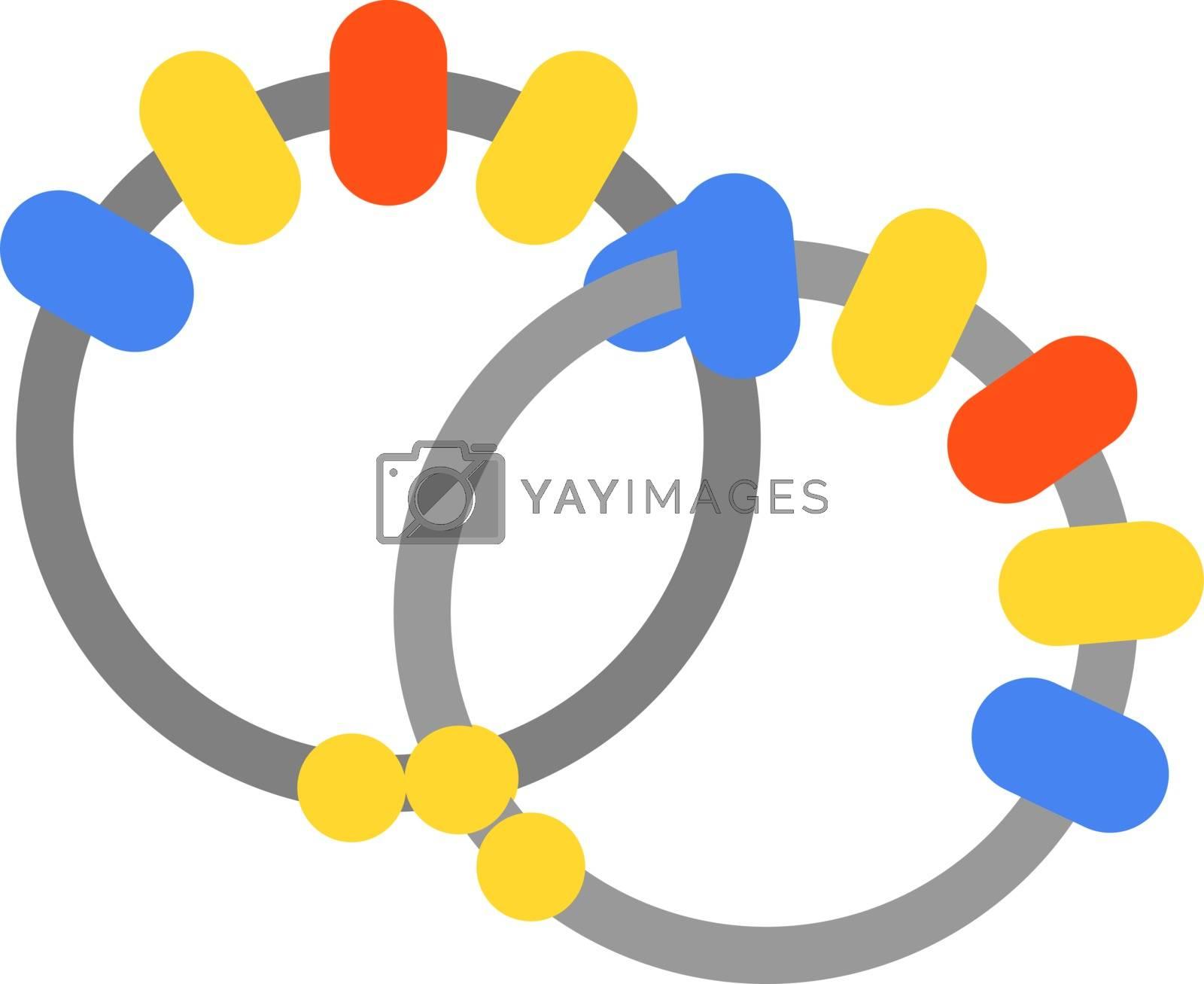 Bracelets, illustration, vector on white background.