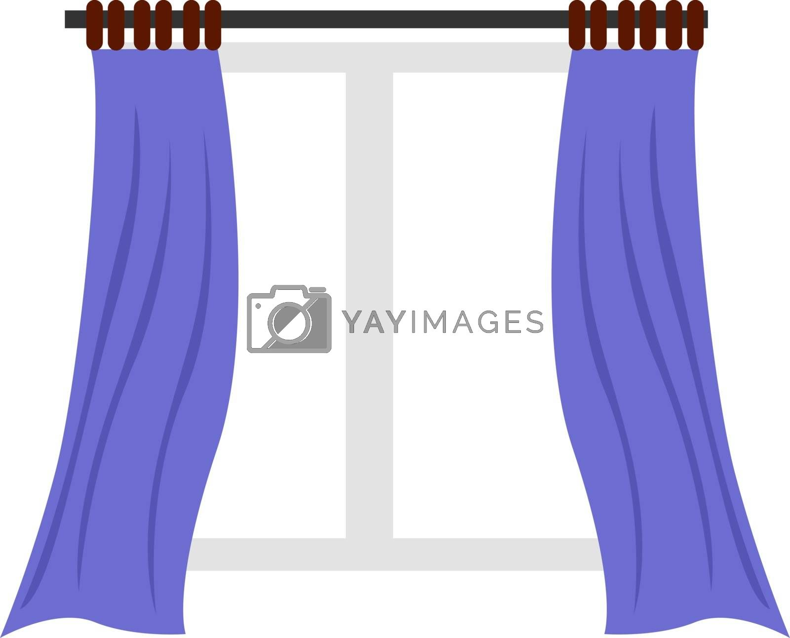 Purple curtain, illustration, vector on white background.