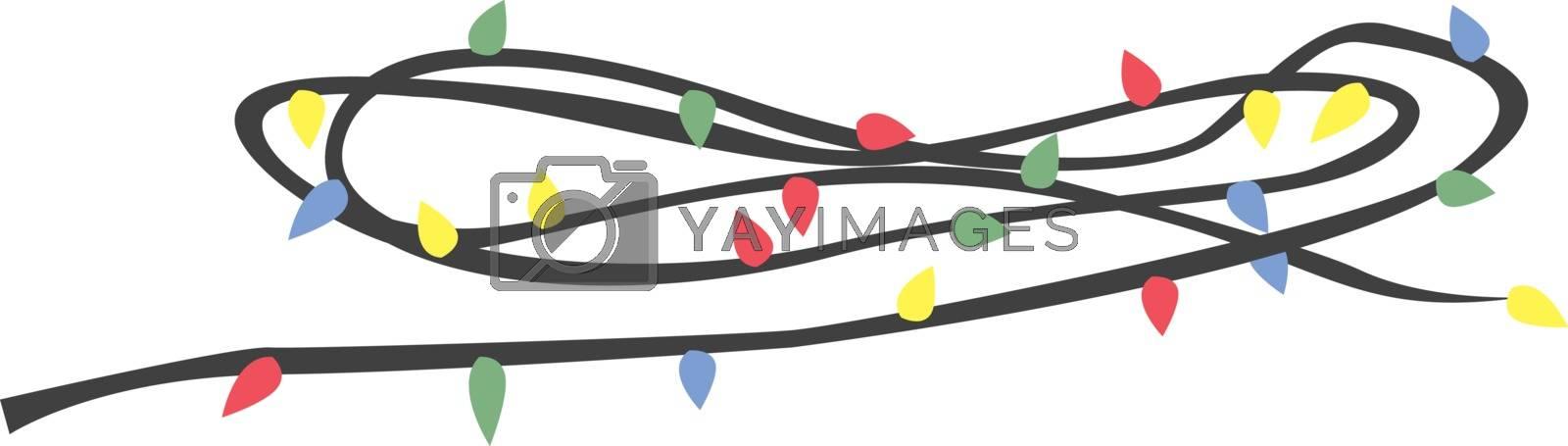 Christmas lights, illustration, vector on white background.