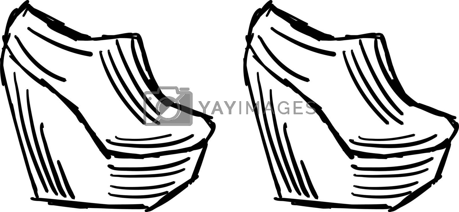Big girls heels, illustration, vector on white background.