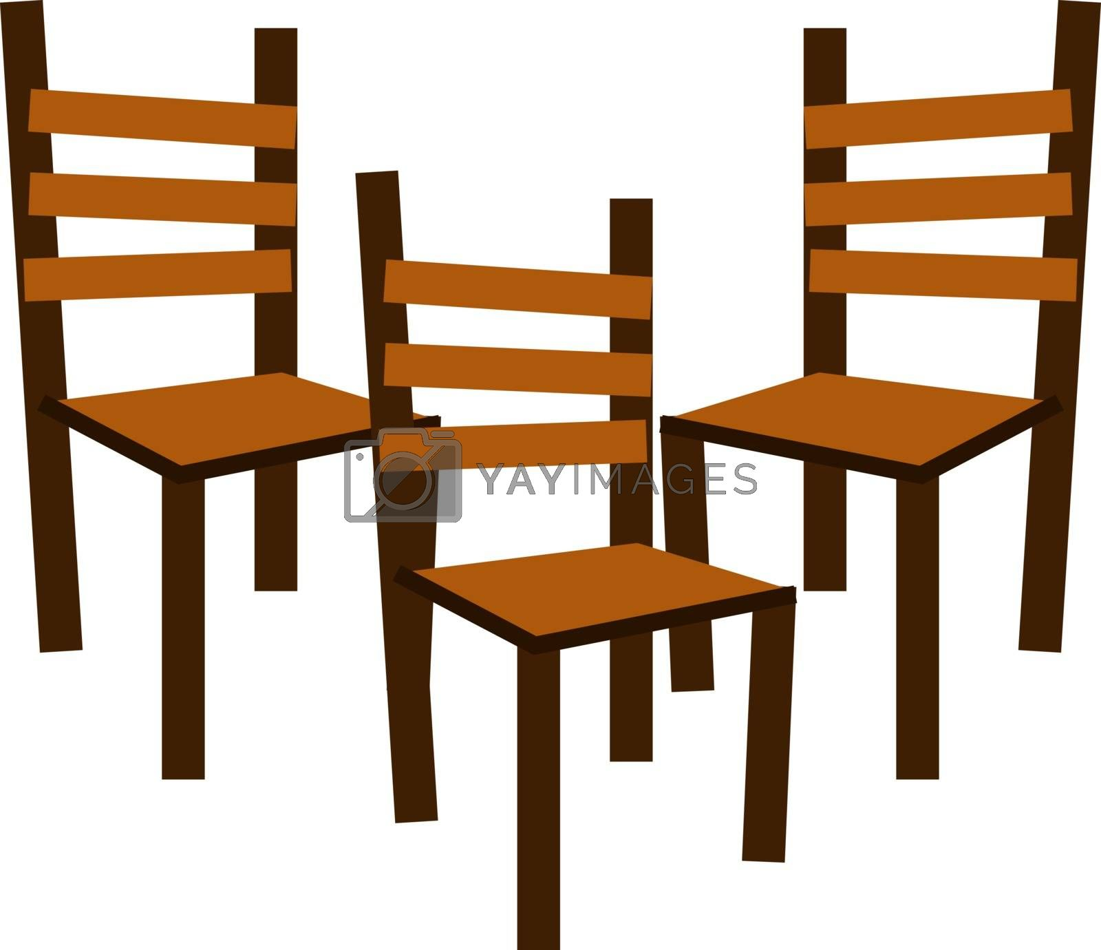 Chairs, illustration, vector on white background.
