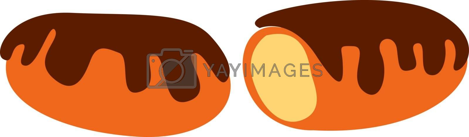 Eclair, illustration, vector on white background.