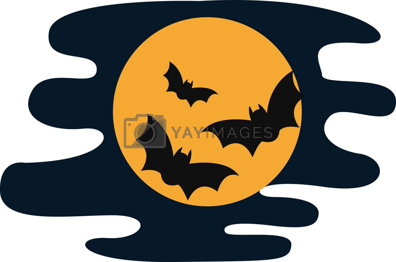 Dark night, illustration, vector on white background.