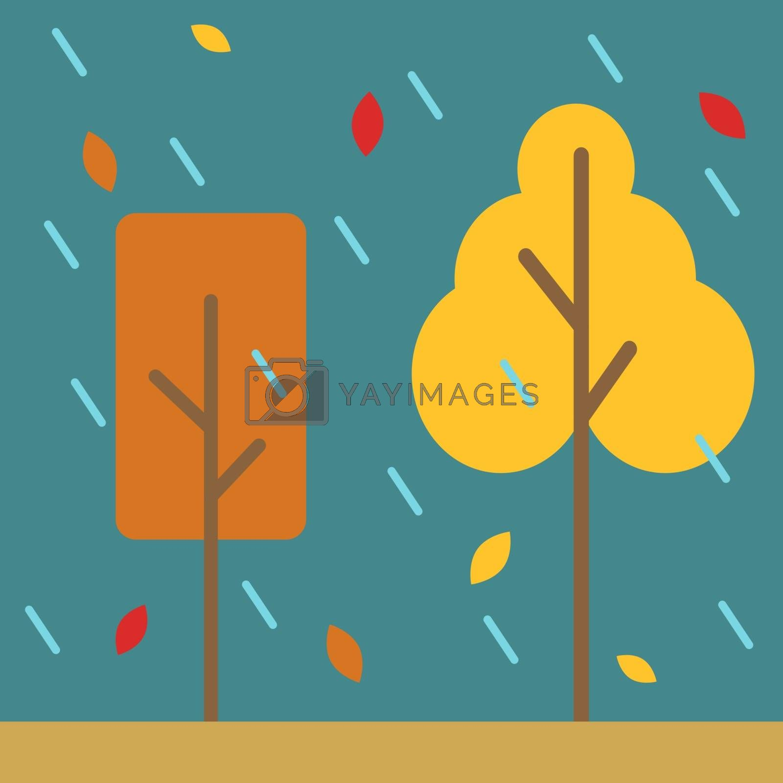 Yellow trees, illustration, vector on white background.