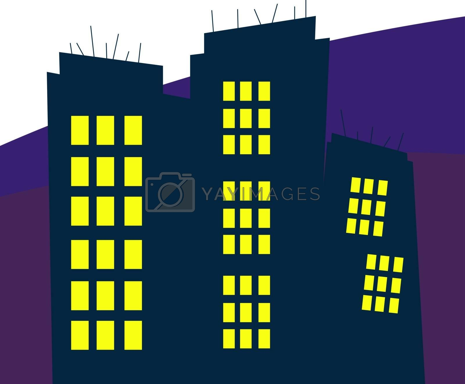 City at night, illustration, vector on white background.