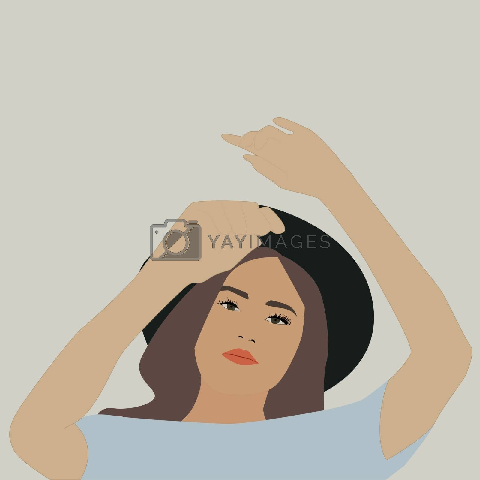 Girl with black hat, illustration, vector on white background.