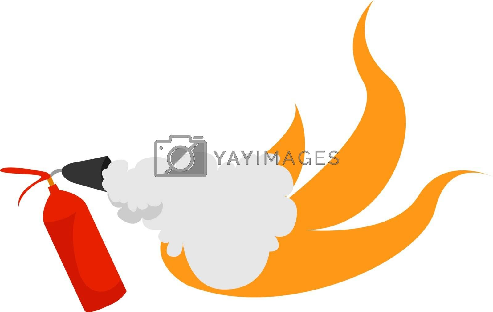 Fire extinguisher, illustration, vector on white background.