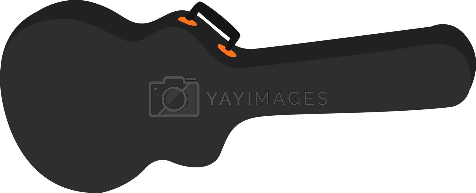 Guitar case, illustration, vector on white background.